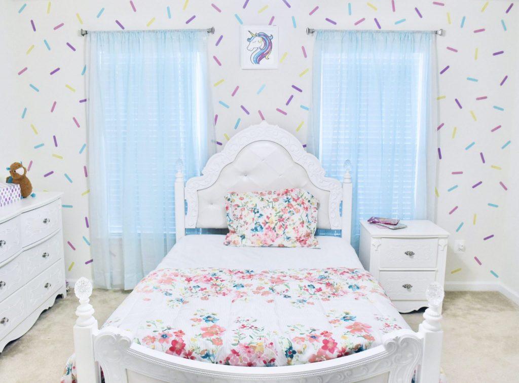 DIY Girl Room Wall Paint Sprinkle Design