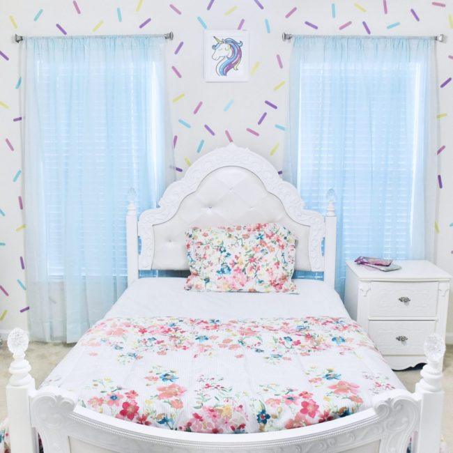 DIY Girl Room Wall Paint Sprinkle Design