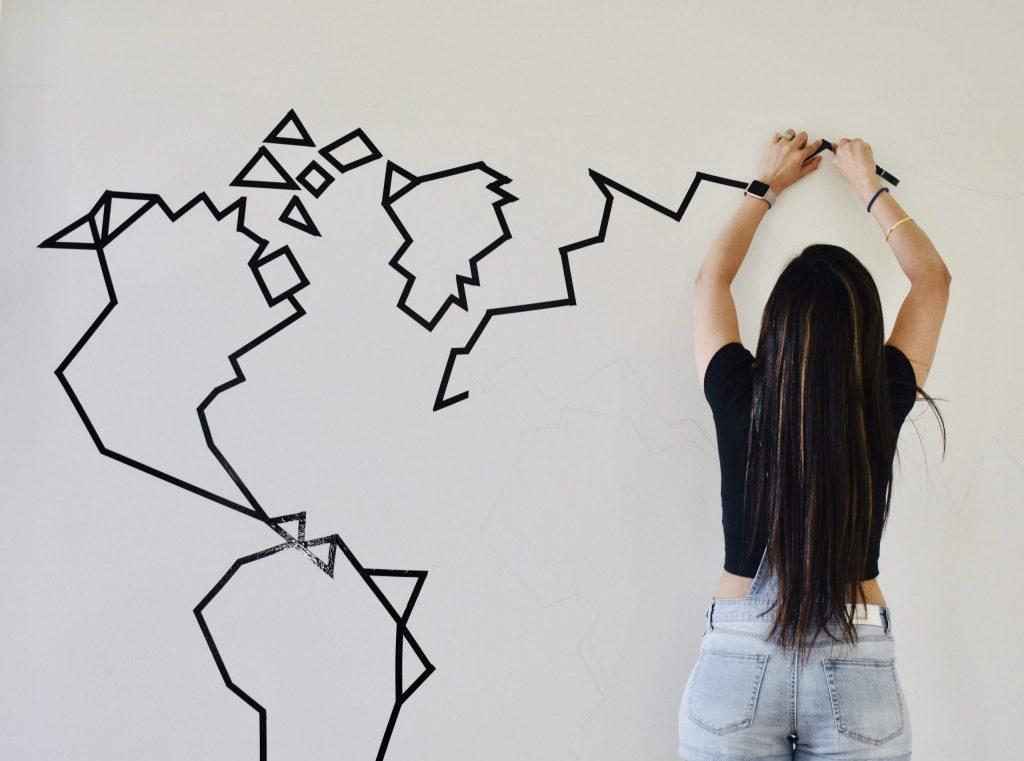 World Map DIY Run Fingers