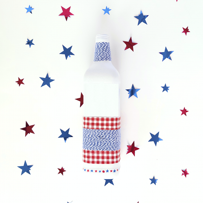 DIY Wine Bottle Patriotic Craft