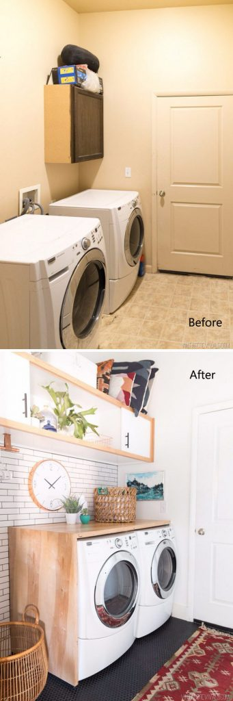 White and Wood DIY Laundry Room Upgrade