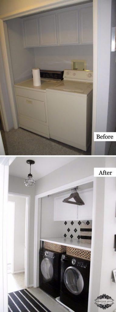White and Black DIY Laundry Room Upgrade
