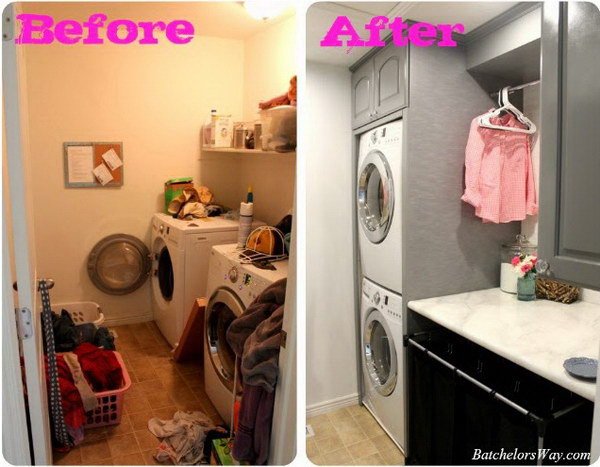 Stacked, Organized and Clean DIY Laundry Room