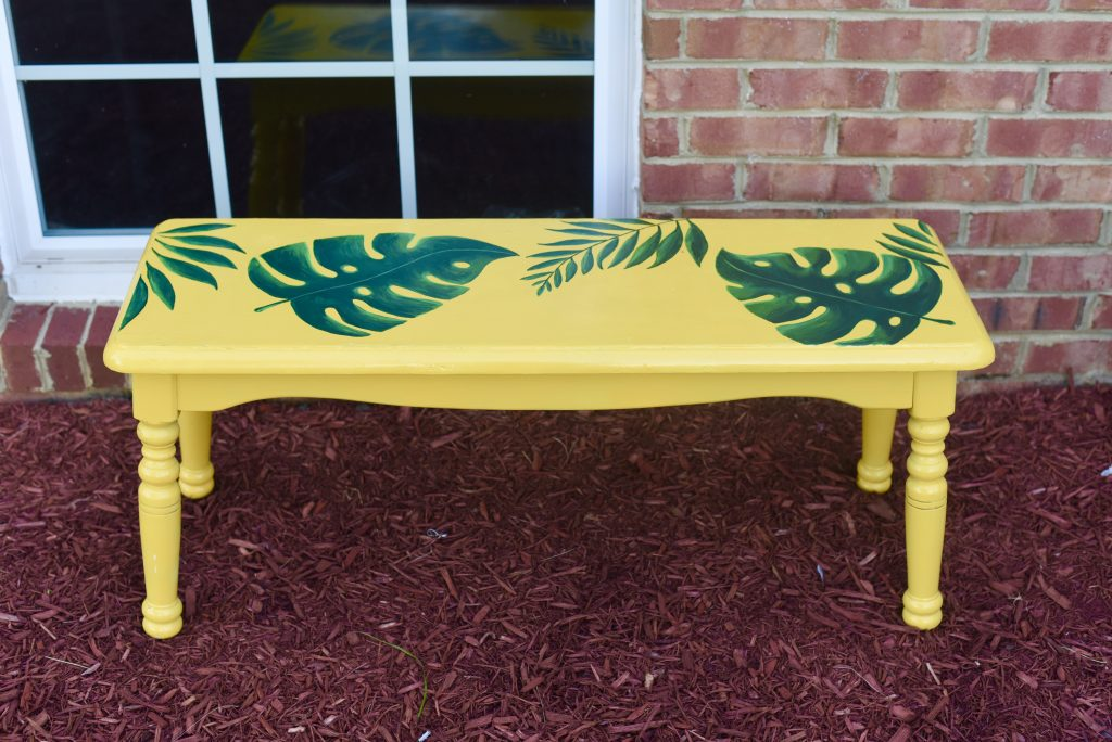 Painting a Garden Bench - Tropical Leaves